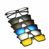 5 Magnetic Clip-on Sunglasses Polarized + 1 Sport Outdoor Glasses Frames Classic