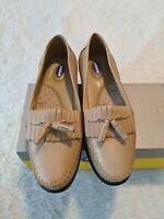 Dr Scholls Womens 6.5 M Moccasin Kiltie Tassel Loafers Shoes Beige Tan