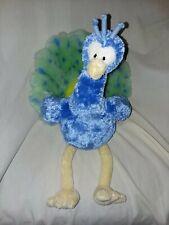 "GUND Bianca Blue Green Peacock Bird Plush 12026 Stuffed Animal 14"""