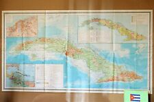 Map of Cuba Vintage Original Large Folding Paper Map Old Geography School Map