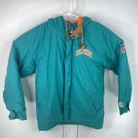 Vintage NFL Miami Dolphins Mens Sz M Blue Starter Hooded Zip Jacket Coat 90's