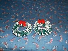 Two Christmas Wreaths with Red Bows 1 3/4 Inch High Christmas Village