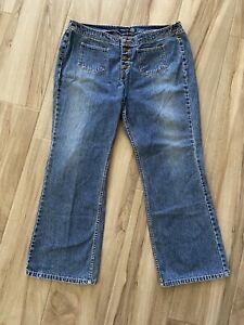 Venezia Womens Vintage 90s Flare Leg Jeans No Belt Loop Button Fly Plus 20