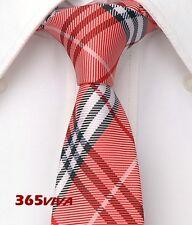 "Red Plaid Checker Men Skinny Slim Narrow Woven Silk 2.5"" Wedding Neck Tie F007"