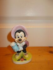 "Minnie Mouse: 4"" Porcelain Ceramic Bisque Watering a Flower 1970s"