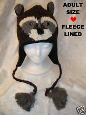 deLux Special Ed ~ RACCOON HAT knit ADULT brown puppet cap LINED animal costume