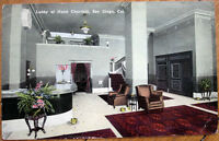 1915 Postcard: 'Hotel Churchill Lobby Interior - San Diego, California CA'