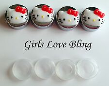 HELLO KITTY RED BOW License Plate Frame Screw Covers - Chrome Caps