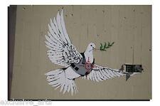 BANKSY GRAFFITI ART - DEEP FRAMED WALL ART CANVAS PRINT - PEACE DOVE - 4 SIZES