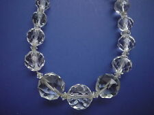 "VINTAGE CUT FACETED CRYSTAL GLASS BEADS  16"" LADIES NECKLACE SPARKLY"