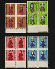 OPC 1968 Germany Set Sc#B438-441 Mi#571-4 Margins Blocks of 4 MNH VF