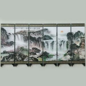 Wooden Chinese Style Retro Small Mini Foldable Panel Screen Room Divider Decor
