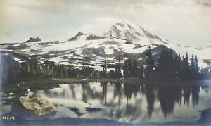 Rare and Early 1909 Asahel Curtis Hand Tinted Photo of Mt Rainier