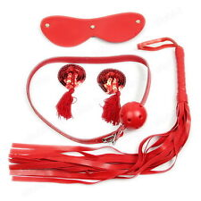 Multipurpose Sex Toys 4Pcs Kit Set Nipple Cover Whip Ball Gag Handcuffs Mask
