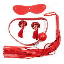 Multipurpose Sex Toys 4Pcs Kit Set Nipple Cover Whip Ball Gag Handcuffs Mask