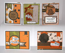 "Halloween Greeting Cards Handmade - Set #6 - 5 A2 Size (5.5""X4.25"") & Envelopes"