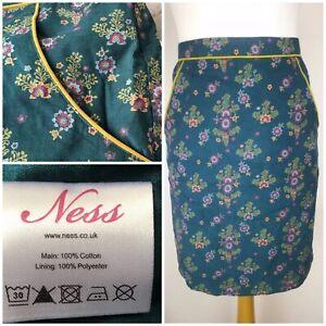 Ness Scotland Coburg Corduroy Folk Print Pockets Lined Cotton Skirt Size-6 New