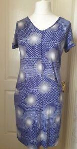 WHITE STUFF Size 10 Blue Patterned Dress With Pockets- Stretch Fabric, V-Neck
