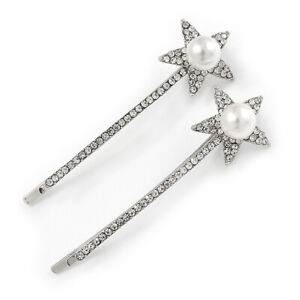 Pair Of Clear Crystal White Pearl Star Hair Slides In Rhodium Plating - 60mm L