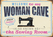 More details for  woman cave sewing cotton thread metal sign retro plaque vintage room shed bbq