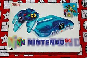 CONSOLA NINTENDO 64 N64 CLEAR BLUE CON CAJA SUPER MARIO PAL EUR MUY BUEN ESTADO