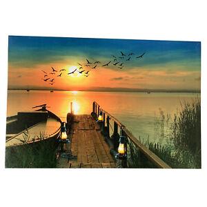 1 LED Light Up HD Sunset Boardwalk Sea Scene Wall Home Decor Canvas Picture Art