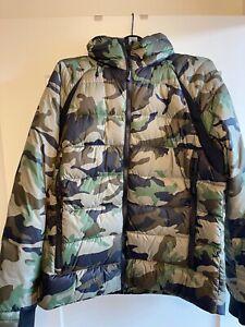 CANADA GOOSE | Short Camouflage Khaki Logo Military Down Jacket