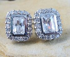 Post Earrings 925 Sterling Silver #383 New listing New Square Halo White Topaz Stud