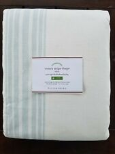 "Pottery Barn Riviera Stripe Panel Curtain Blackout Lining Porcelain 96"" #3180"