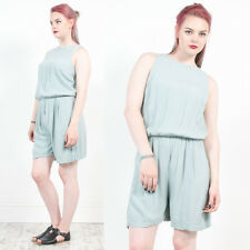 WOMENS VINTAGE 90'S PLAIN PASTEL MINT BLUE SLEEVELESS PLAYSUIT ROMPER 10