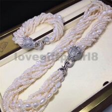 "gorgeous natural south sea white pearl necklace 18"" bracelet 7.5-8inch"