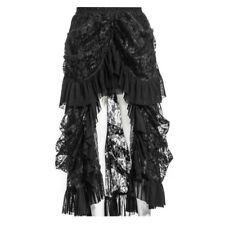Steampunk Gothic Asymmetrisch Rock Maxi schwarz Vintage Skirt Victorian Spitzen