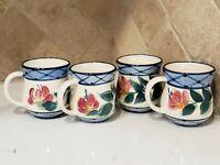 "Gail Pittman Pottery ""Annabella' Coffee/Tea Mugs 4  1995 signed - Discontinued"