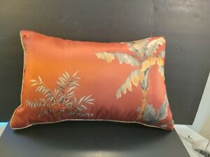Decorative Accent Throw Pillow Rectangle Orange Gold Tropical Palm Trees