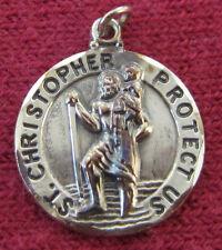 Vintage Catholic Religious Holy Medal - Saint Christopher / STERLING TK - PETITE