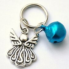 Dog or Cat Pet Collar Charms Blue Bell & Angel New Warning for Birds Tag LB25