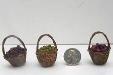 Dollhouse Miniatures Straw Baskets Filled Nativity Village Set 3 Pellegrini