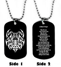 DOG TAG NECKLACE - Biker's Prayer #SN1 Motorcycle Jesus God Religious Christian