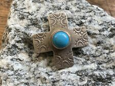 Turquoise Drop Pendant Charm Signed Vintage Fred Harvey Era Sterling with