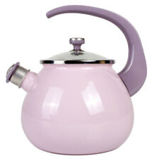 Pink Purple Enamel Kettle Teapot Top Quality Made in Ukraine Whistle Safe Handle