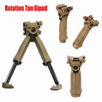 Tactical 40 Degree Swivel Foldable Foregrip Rifle Bipod 20mm Rail Mount - QR Tan