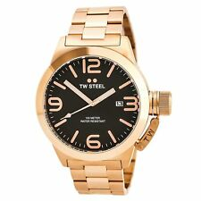TW Steel Men's Watch Canteen Automatic Black Dial Rose Gold Bracelet CB172