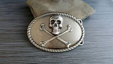 Handmade Antique Silver Steampunk Skull And Crossbones Belt Buckle