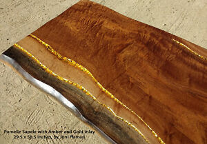 Live edge Wood Slab Pomelle Sapele Amber and Gold Inlaid Coffee / Cocktail Table