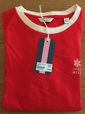 Womens Girls Jack Wills Ellwood Ringer T Shirt Top Red Uk 6 Christmas Snowflake