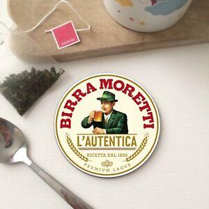 BIRRA MORETTI Beer Lager Man Cave Pub Shed Bar Mat Tea Coffee Drink WOOD Coaster
