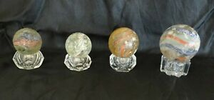 Lot of 4 Vintage Handmade German Solid Core, Candy Stripe, Latticinio Marbles