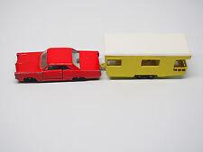 Vintage Matchbox Lesney Pontiac GP #22 Red & Trailer Caravan #23 Yellow Combo