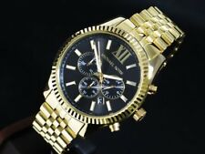 NEW GENUINE MICHAEL KORS MK8286 LEXINGTON BLACK DIAL GOLD MENS WATCH UK
