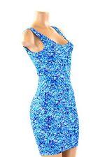 MEDIUM Stretchy Blue Pebble Print Tank Style Bodycon Clubwear Rave Dress